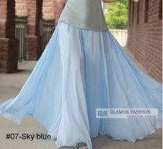 Full Circle Chiffon Skirt Long Skirt XS 3XL GF0681 | eBay