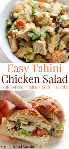 This super quick and easy Tahini Chicken salad is gluten-free, paleo, keto, and perfect for a healthy lunch! This low-carb healthy chicken salad can be eaten as is or used on a sandwich! Make it ahead of time for some quick meal prep throughout the week! It's packed with crunchy veggies and sesame tahini for an amazing taste and texture! #chickensalad #keto #ketolunch #lowcarb #lunchideas #easylunchideas #tahini #mealprep