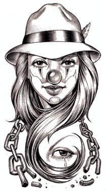 Girl Clown Tattoo Art | Gangster Clown Tattoo Designs
