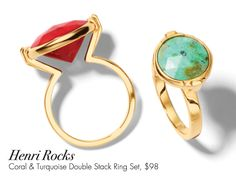 Henri Rocks Coral & Turquoise Double Stack Ring Set