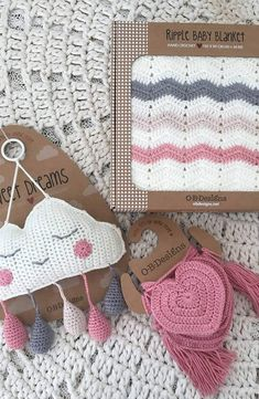 Hand crochet Ripple Blanket - Pink Heart Bunting - total lengthSweet Dreams Cloud Mobile -Dingaring - plush teething rattle Hand crochet with love xoxo Crochet Wall Art, Crochet Wall Hangings, Hand Crochet, Crochet Baby, Baby Gift Box, Baby Gifts, Amigurumi Patterns, Crochet Patterns, Crochet Ripple Blanket