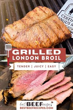 Our Grilled London Broil marinates in a divine blend of seasonings and juices until it's so tender and flavorful, your mouth will water just smelling it on the grill. #BestBeefRecipes #marinade #londonbroil #londonbroilrecipe #steakrecipes #steaks #grilling #grilledrecipes #grillingrecipes #onthegrill via @bestbeefrecipes Best Beef Recipes, Easy Steak Recipes, Summer Grilling Recipes, Barbecue Recipes, Cooking Recipes, Favorite Recipes, Cooking Ideas, Sauce Recipes, Drink Recipes