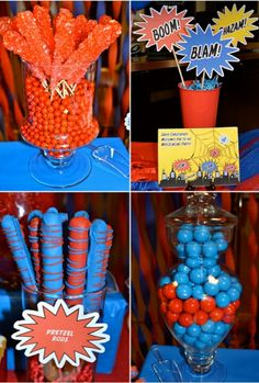 Red & Blue Candy for spiderman birthday