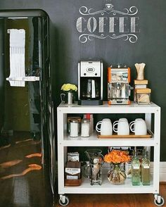 Coffee Bar Ideas - Looking for some coffee bar ideas? Here you'll find home coffee bar, DIY coffee bar, and kitchen coffee station. Coffee Bars In Kitchen, Coffee Bar Home, Home Coffee Stations, Cafe Bar, Office Coffee Station, Diy Kitchen, Kitchen Decor, Kitchen Cart, Kitchen Ideas