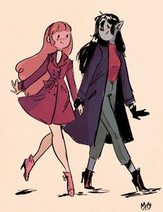Marceline x Princess Bubblegum . Credits for the owner. Adventure Time Marceline, Adventure Time Anime, Princesse Chewing-gum, O Cowboy, Abenteuerzeit Mit Finn Und Jake, Character Art, Character Design, Marceline And Princess Bubblegum, Lesbian Art