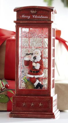 9967ee52153c5 10 Inch Santa In English Phone Booth Lighted Water Lantern With Swirli – Lighted  Water Lanterns