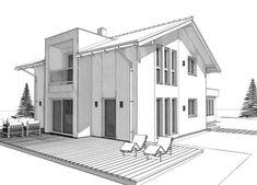 ELK Haus 153 mit Büro Anbau & Zwerchgiebel - ELK Fertighaus | HausbauDirekt Living Haus, Modern House Plans, Villa, Architecture, Furniture, Home Decor, Case, Buildings, Collection