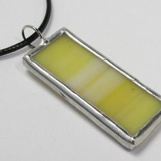 Mellow Yellow  Stained Glass Pendant with Black by faerieglass, $12.00