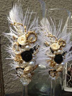 Gran Gatsby gafas de boda champagne con plumas de avestruz en