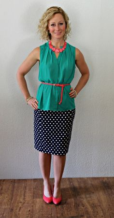 Pixley June Polka Dot Skirt #stitchfix I have a top this color & I love the combo with the navy skirt
