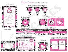 Hello Kitty Zebra Print Birthday Invitation and Party Package - JCBabyCakes #etsy