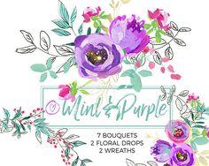 Purple Mint Watercolor Flowers Clipart Set Wedding Floral