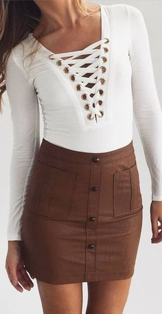 #prefall #muraboutique #outfitideas | White + Coffee Lace Up Playsuit
