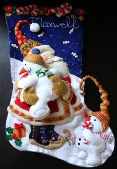 At the end of last holiday season, I wrote about Max's Christmas stocking. It is from a Bucilla . Felt Stocking Kit, Felt Christmas Stockings, Christmas Stocking Pattern, Stocking Tree, Felt Christmas Ornaments, Christmas Sewing, Christmas Projects, Christmas Crafts, Stocking Ideas