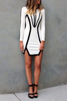 Just a pretty style | Latest fashion trends: Street style black and white color block dress