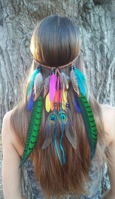 New to dieselboutique on Etsy: Bird of Paradise Feather headband native american style indian bohemian wedding feather veil rainbow costume edm plur rave USD) Indian Headband, Bohemian Headband, Feather Headband, Hippie Headbands, Feather Hair, Knot Headband, Boho Gypsy, Hippie Bohemian, Bohemian Hair