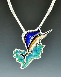 Swordfish of Sterling Silver and Transparent Vitreous Enamels by artist Kristin Anderson Enamel Jewelry, Resin Jewelry, Jewelry Art, Jewelry Design, Jewellery, Designer Jewelry, Kristin Anderson, Vitreous Enamel, Animal Decor
