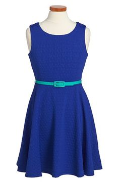 Free shipping and returns on Nicole Miller Textured Knit Sleeveless Dress (Big Girls) at Nordstrom.com. A boldly textured finish and breezy back cutout charm a twirly sleeveless dress paired with a contrast, glossy patent belt.