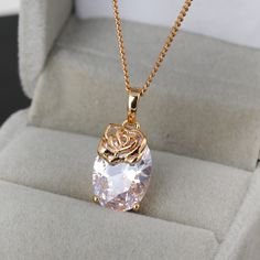 45.5cm 18K Gold Plated Rose Design Pendant Inlay Shiny Zircon Copper Necklace Copper Necklace, Beaded Necklace, Pendant Necklace, Fashion Necklace, Fashion Jewelry, Charms, Rose Design, 18k Gold, Jewelry Gifts