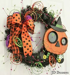 This is Halloween wreath measures approximately It is full of whimsy and fun. A wooden pumpkin will give your guest a special smile! Halloween Wood Crafts, Halloween Mesh Wreaths, Halloween Trees, Halloween Door, Diy Halloween Decorations, Holidays Halloween, Holiday Wreaths, Fall Crafts, Halloween Pumpkins