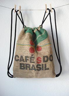 Nur noch...: Kaffee-Turnbeutel - drawstring backpack made out off burlap coffee bag