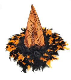 Maker's Halloween Witch Hat Orange With Black Feathers