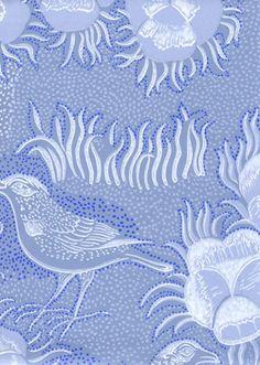 Wallpaper by Birger Kaipiainen, Kiurujen yö, Tepettitalo Skylark, Designer Wallpaper, Home Bedroom, My Favorite Color, Fabric Patterns, Metallica, Ceramic Art, Finland, Blue And White