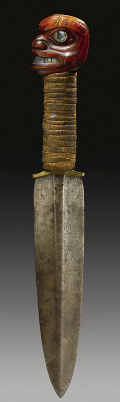 Tlingit Steel & Horn Dagger  --  No date provided.  Provenance: National Museum of the American Indian, Washington, DC  --  Via Sotheby's