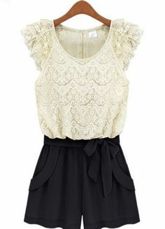 White Lace + Black Sleeveless Lace Belt Jumpsuit