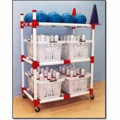 Sports Equipment Organizer | Bowling Cart Sports Equipment Storage  Measures: 41 L X