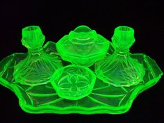 "6 PIECE VASELINE GLASS ""ART DECO"" DRESSER SET w/ Candle Holders"