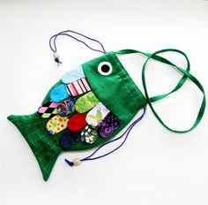 Girls Purse Frilly Fish Green Multi Colored Scales. $25.00, via Etsy.