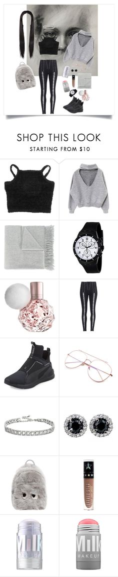 """""""Grey Tint"""" by girlyprincessglam ❤ liked on Polyvore featuring Acne Studios, Swatch, Puma, Kenneth Jay Lane, Anya Hindmarch, Jeffree Star and MILK MAKEUP"""
