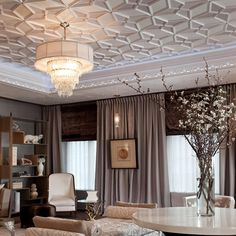 That ceiling is a bit much, but the rest of it is divine.  I want my bedroom to look like this.