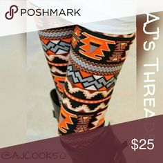 """✨Just In✨Orange Tribal Pattern Leggings Stylish orange, black and gray tribal pattern leggings Material: Polyester/Cotton Blend Sizing: fits sizes small - large Waist:29.6"""" - 39.4"""" Hip: 25.6"""" -43.3"""" Length: 35.4"""" - 37"""" 🎁Free gift with purchase($20 and up) 🛍Bundle and save %10 Pants Leggings"""