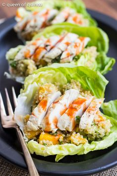 Tropical Quinoa Lettuce Wraps with Chicken, Mango, and Avocado