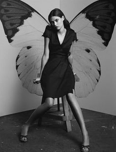 Bianca Balti for Mango | black & white | wings | butterfly | fashion editorial | delicate | www.republicofyou.com.au