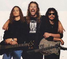 Jason Newsted, James Hetfield, and Kirk Hammett of Metallica