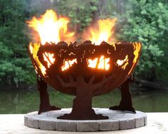 Forest Fire Custom Steel Fire Pit (Fire Bowl) Designed by my daughter Melissa Crisp