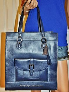 Coach Charlie Ink Blue Large Leather Tote Bag Handbag Purse NWT #Coach #TotesShoppers