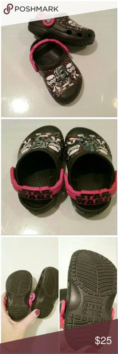 """Star Wars toddlers crocs Absolutely adorable crocs. In brand new condition without the box. The size on the bottom says 4 (C) 5 which I hope you know what that means for your toddler because I don't?? sorry. I measured the bottom and its 5.75"""" from toe to heel if that helps. Any kid who's obsessed with Stars Wars will LOVE these. These are limited edition from Lucasfilm Ltd. for crocs. CROCS Shoes Sandals & Flip Flops"""