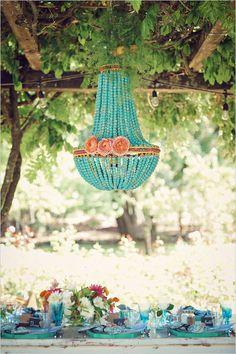 The Wanderlust turquoise chandelier at garden wedding avail here http://gypsyville.com/the-wanderlust-chandelier.html