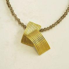 Pendant Antidote Iosif with gold plated Silver 925 & Smoke Quartz gemstones.  Pendant Code:3301.PD.2041.GO.001
