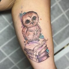 Baby owl book tattoo by June Jung