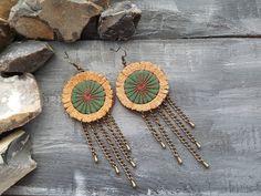 Leather earrings. Hippie earrings. Tribal by VelmaJewelry on Etsy