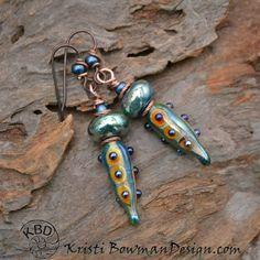 Metallic Pod Lampwork Earrings by KristiBowmanDesign on Etsy
