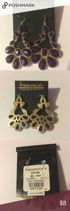 Grape/Gold earrings Grape and gold colored pierced earrings from Francesca's. Jewelry Earrings
