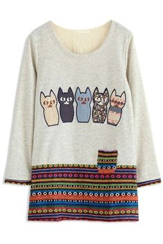 Graphic Cat Family Long Sweatshirt