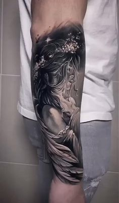 Incredible tattoo by Anastasiya - anja Angel Sleeve Tattoo, Realistic Tattoo Sleeve, Skull Sleeve Tattoos, Forearm Sleeve Tattoos, Best Sleeve Tattoos, Sleeve Tattoos For Women, Leg Tattoos, Tattoos For Guys, Angels Tattoo