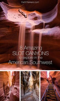 8 slot canyons to hike and explore in the American Southwest: Antelope Canyon, Willis Creek, Zion Narrows, Buckskin Gulch, and more. #adventure #zion #antelopecanyon #hikingadventures #hiking